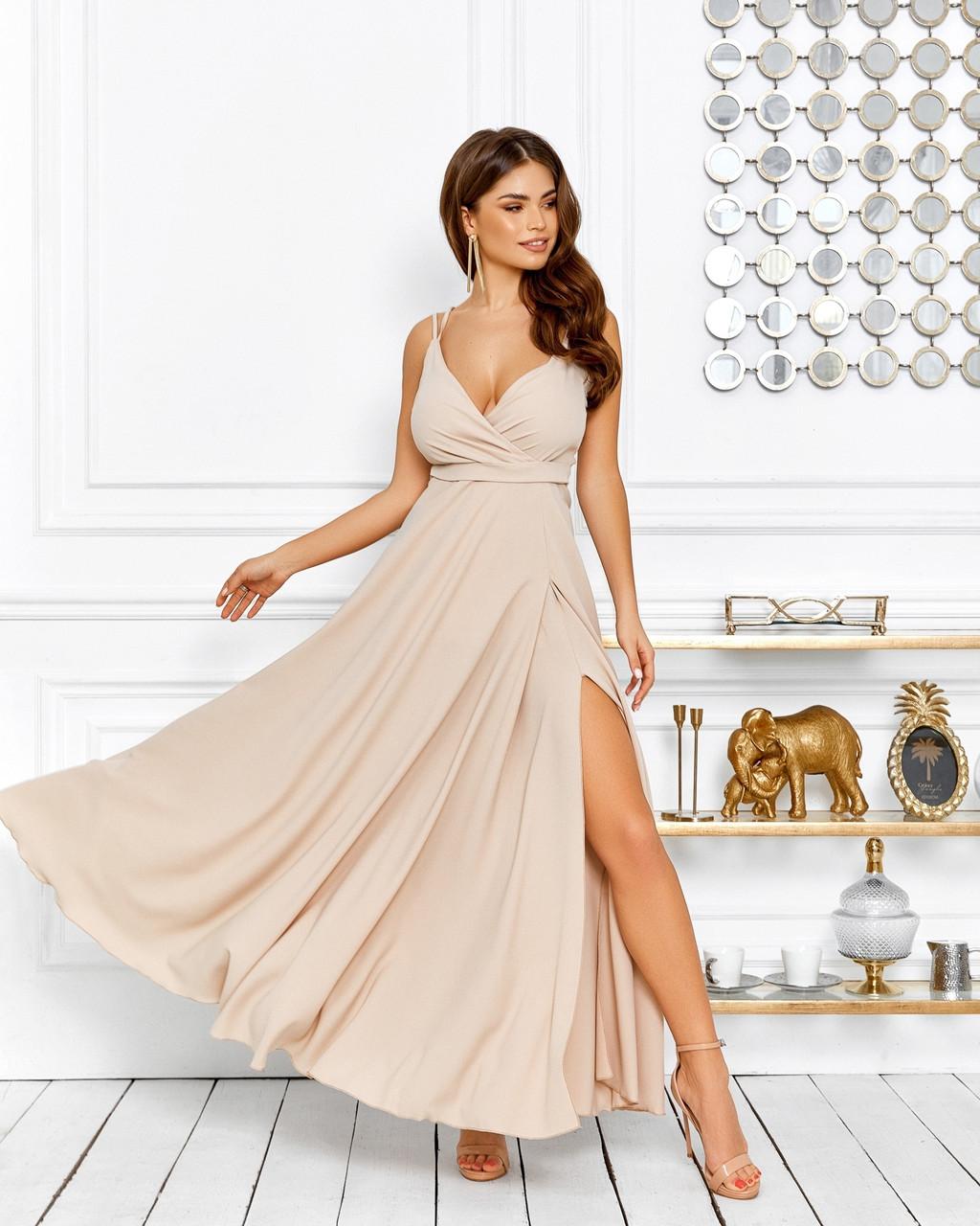 Витончене плаття з довгою кльош спідницею і відкритим декольте, 00650 (Бежевий), Розмір 44 (M)