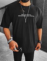 Чоловіча футболка оверсайз чорна Ocean Hills