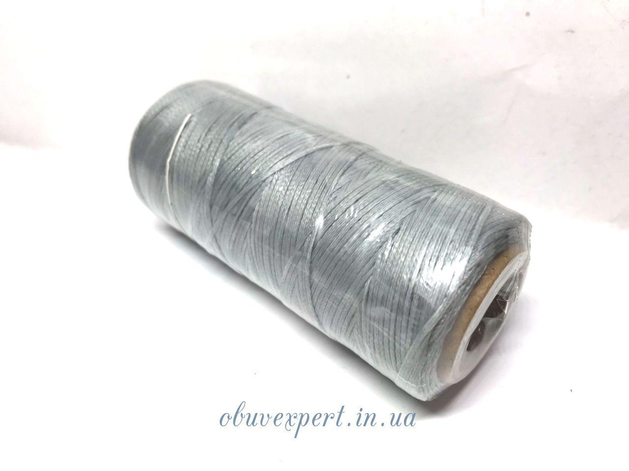 Нитка вощена по шкірі (плоский шнур), т. 1 мм, 100 м, кол.  світло-сірий