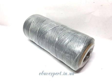 Нитка вощена по шкірі (плоский шнур), т. 1 мм, 100 м, кол.  світло-сірий, фото 2