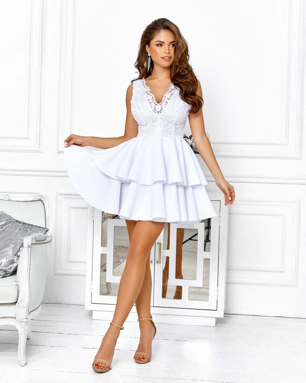 Розкішне плаття на випускний спідниця з подвійним воланом з неопрена, 00653 (Білий), Розмір 42 (S)