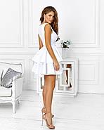 Розкішне плаття на випускний спідниця з подвійним воланом з неопрена, 00653 (Білий), Розмір 42 (S), фото 2