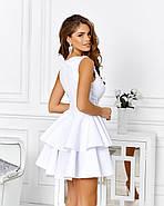 Розкішне плаття на випускний спідниця з подвійним воланом з неопрена, 00653 (Білий), Розмір 42 (S), фото 3