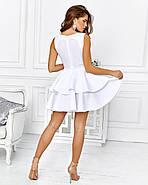 Розкішне плаття на випускний спідниця з подвійним воланом з неопрена, 00653 (Білий), Розмір 42 (S), фото 4