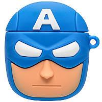 Силиконовый футляр Marvel & DC series для наушников AirPods + карабин Капитан Америка/Синий