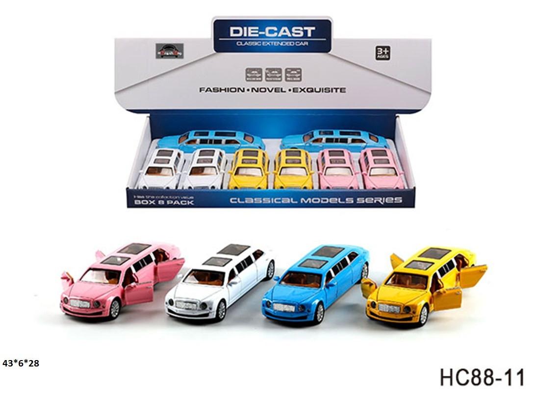 KMHC88-11 Модель машинки лимузин металл, инерционная, музыка, свет