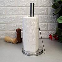 Держатель для бумажных полотенец Kamille 15х34 см из нержавеющей стали, кухонный бумагодержатель