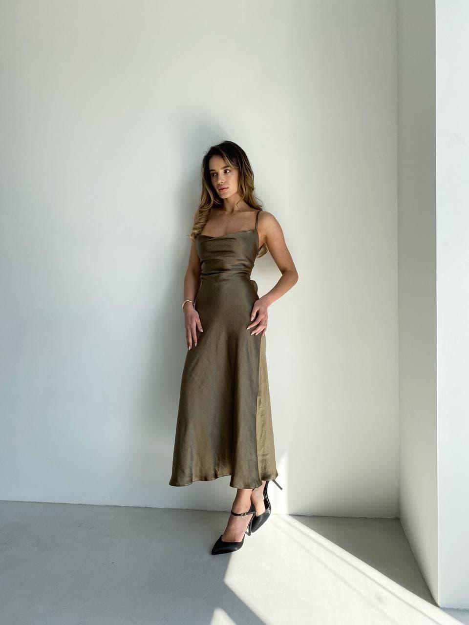 Шовкова сукня комбінація золотиста