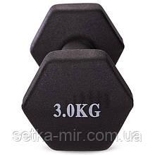 Гантели для фитнеса с неопреновым покрытием глянец, мат SP-Planeta Радуга TA-0001-3 (1x3кг), Черные