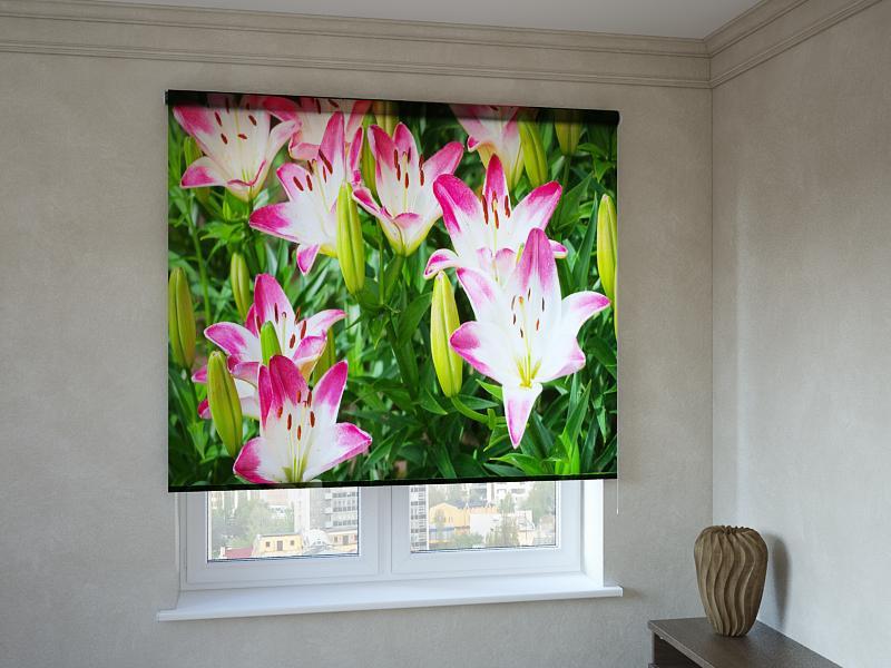 Рулонні штори з фотодруком квіти в траві
