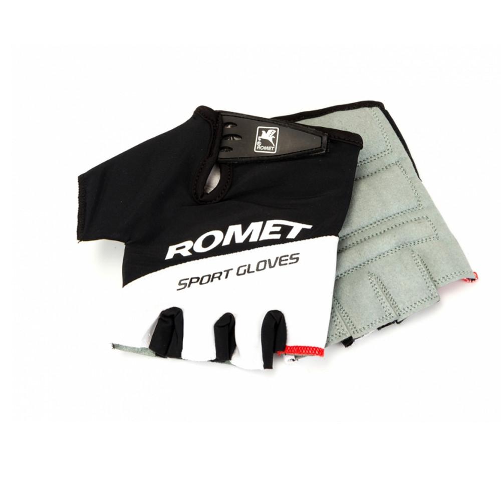 Рукавички для велосипеда ROMET чорно білі з білим лого XL