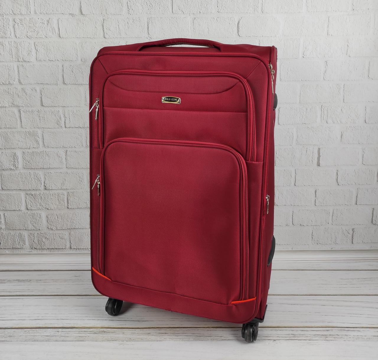 Дорожный тканевый чемодан 6311 (красный) на 4 колесах (большой)