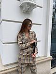Костюм женский брючный бежевый барбери в клетку: пиджак и брюки (в расцветках), фото 3