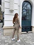 Костюм женский брючный бежевый барбери в клетку: пиджак и брюки (в расцветках), фото 2