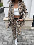 Костюм женский брючный бежевый барбери в клетку: пиджак и брюки (в расцветках), фото 5