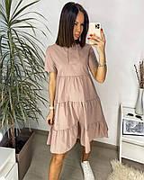 Платье с воротником-стойкой однотонное женское (ПОШТУЧНО), фото 1