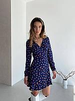 Цветочное платье мини на запах синее, фото 1