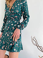 Цветочное платье мини на запах зеленое, фото 1
