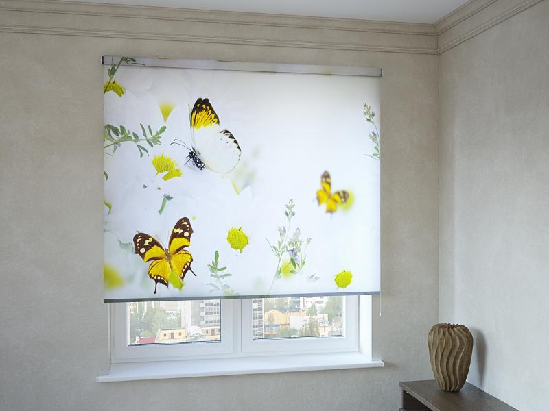 Рулонні штори з фотодруком жовті метелики