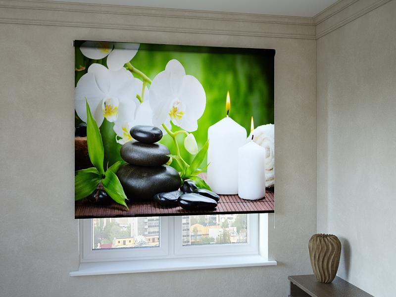 Рулонные шторы с фотопечатью белая орхидея