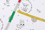 """Лоскут ткани """"Серый оленёнок в кружочке из веточек"""", фон белый (№3324)., размер 46*80 см, фото 5"""