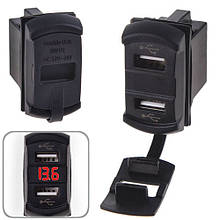 Автомобільний зарядний пристрій 2 USB 12-24V врізне + вольтметр (10256 USB-12-24V 2,1 A RED)