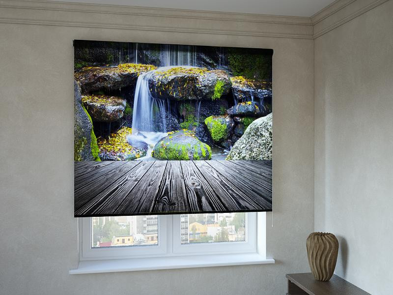 Рулонні штори з фотодруком каскад водоспадів