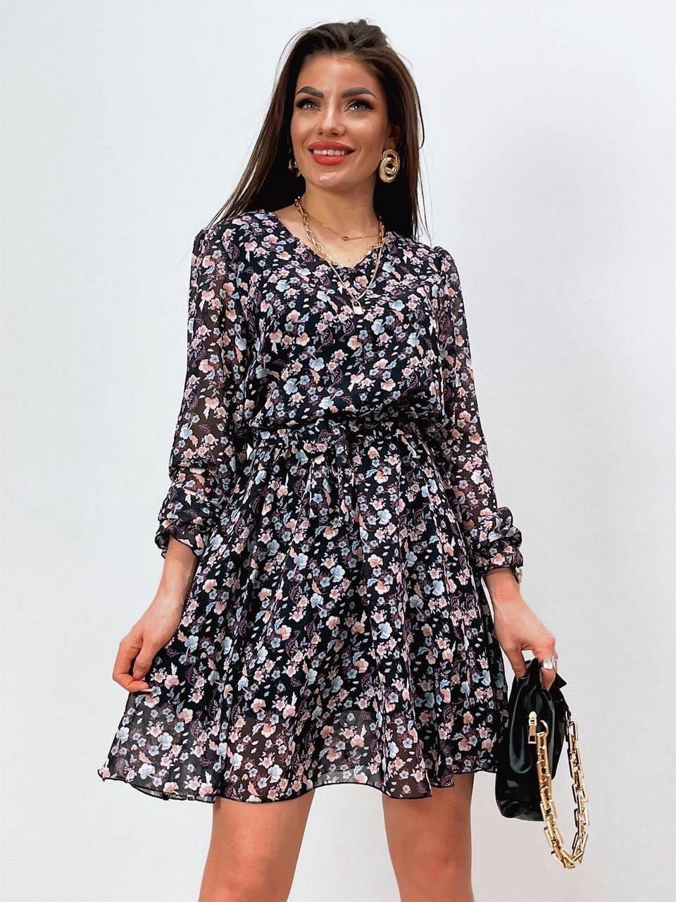 Шифонове плаття на підкладці в квітковий принт, 00660 (Темно-синій), Розмір 46 (L)