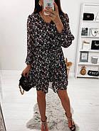 Шифонове плаття на підкладці в квітковий принт, 00660 (Темно-синій), Розмір 46 (L), фото 2