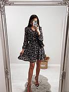 Шифонове плаття на підкладці в квітковий принт, 00660 (Темно-синій), Розмір 46 (L), фото 3