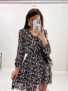 Шифонове плаття на підкладці в квітковий принт, 00660 (Темно-синій), Розмір 46 (L), фото 5