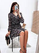 Шифонове плаття на підкладці в квітковий принт, 00660 (Темно-синій), Розмір 46 (L), фото 6