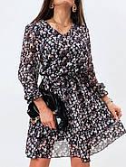 Шифонове плаття на підкладці в квітковий принт, 00660 (Темно-синій), Розмір 46 (L), фото 7