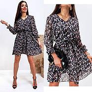Шифонове плаття на підкладці в квітковий принт, 00660 (Темно-синій), Розмір 46 (L), фото 8