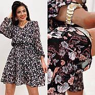 Шифонове плаття на підкладці в квітковий принт, 00660 (Темно-синій), Розмір 46 (L), фото 9