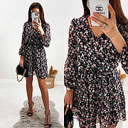 Шифонове плаття на підкладці в квітковий принт, 00660 (Темно-синій), Розмір 46 (L), фото 10