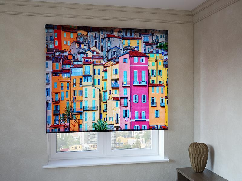 Рулонные шторы с фотопечатью разноцветные дома