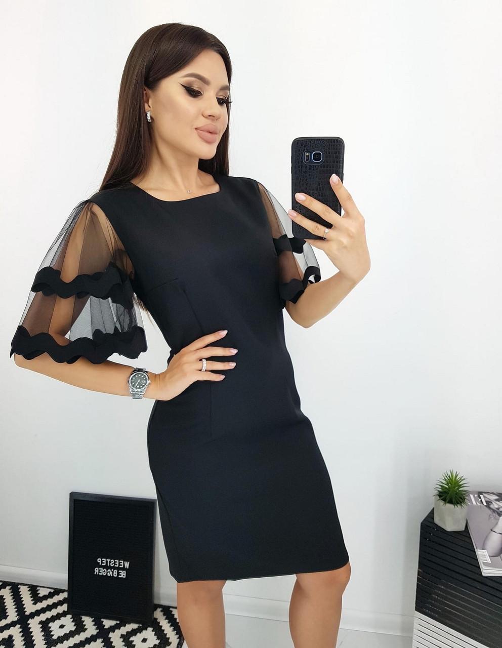 Модне плаття ділового стилю прямого крою з гарними руками, 00664 (Темно-синій), Розмір 46 (L)