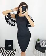 Модне плаття ділового стилю прямого крою з гарними руками, 00664 (Темно-синій), Розмір 46 (L), фото 2