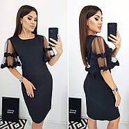 Модне плаття ділового стилю прямого крою з гарними руками, 00664 (Темно-синій), Розмір 46 (L), фото 3