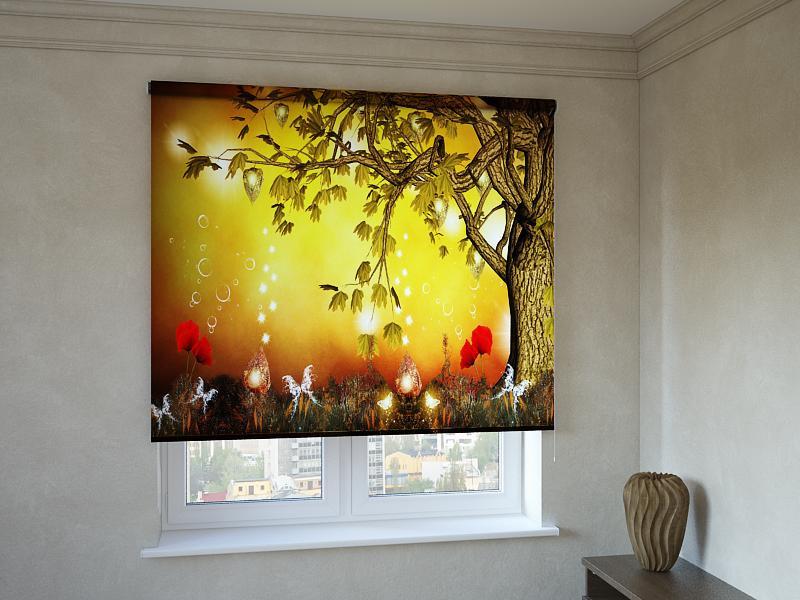 Рулонні штори з фотодруком казкове дерево