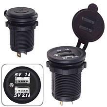 Автомобільний зарядний пристрій 2 USB 12-24V врізне в планку (10449 USB-12-24V 3,1 A WHI)