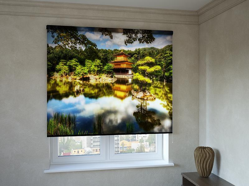 Рулонные шторы с фотопечатью дом в лесу