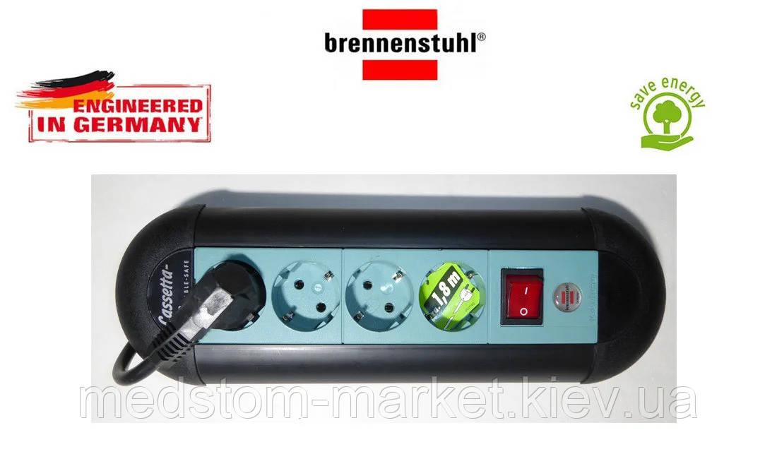 Удлинитель Brennenstuhl Casseta Line на 4 розетки с кнопкой черно-синий 1,8м