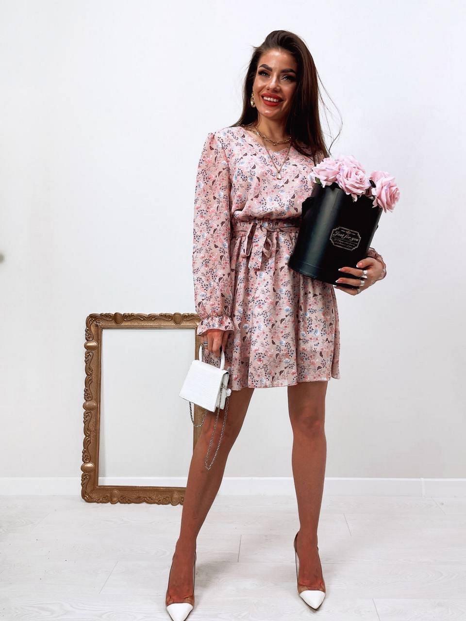 Жіноче трендове весняне плаття в квітковий принт, 00659 (Пудровий), Розмір 42 (S)
