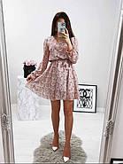 Жіноче трендове весняне плаття в квітковий принт, 00659 (Пудровий), Розмір 42 (S), фото 2