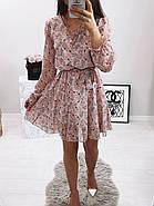 Жіноче трендове весняне плаття в квітковий принт, 00659 (Пудровий), Розмір 42 (S), фото 3