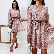 Жіноче трендове весняне плаття в квітковий принт, 00659 (Пудровий), Розмір 42 (S), фото 4