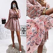 Жіноче трендове весняне плаття в квітковий принт, 00659 (Пудровий), Розмір 42 (S), фото 5
