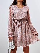 Жіноче трендове весняне плаття в квітковий принт, 00659 (Пудровий), Розмір 42 (S), фото 6